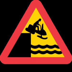 Skoterbron har rasat. skoter över kaj. vatten ingen bro. varning för kaj